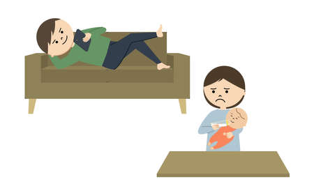 Vector illustration of man lying on sofa using smartphone while woman feeding baby.