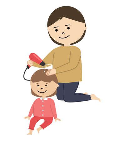 Vector illustration of woman drying girl's hair.