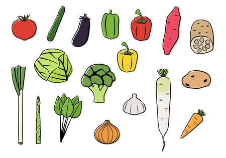 Vector illustration set of vegetables. simple line drawings