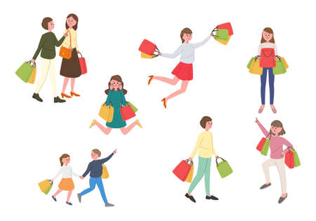 Vector illustration set of people shopping Векторная Иллюстрация