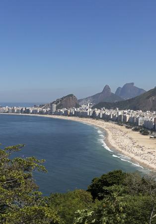 sandal tree: Aerial view of Copacabana Beach in Rio de Janeiro, Brazil