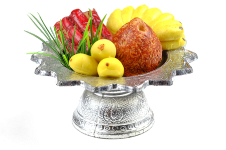 belive: Sculpture fruit in  tray for sacrifice to the wandering spirit Stock Photo