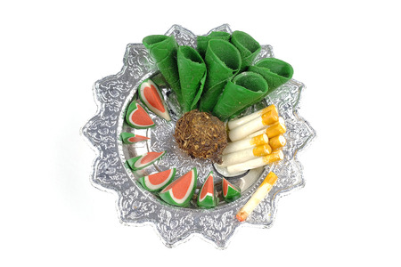 wandering: Sculpture food in  tray for sacrifice to the wandering spirit