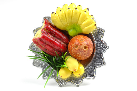 fruit of the spirit: Sculpture fruit in  tray for sacrifice to the wandering spirit Stock Photo