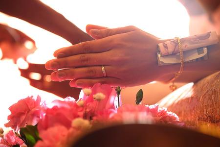 commit: Thai wedding ceremony culture marriage. - (Selective focus) Stock Photo