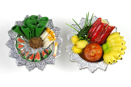 pass away: Sculpture food in  tray for sacrifice to the wandering spirit
