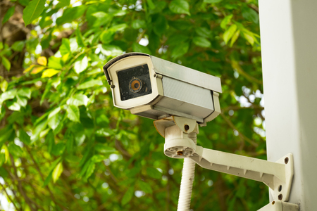 guard house: CCTV recording important events and a guard house Stock Photo