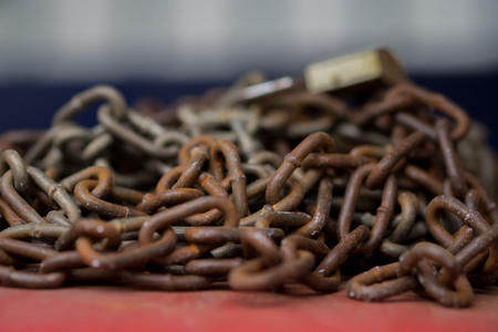 prison break: Old Rusted Chain .(Selective focus) Stock Photo