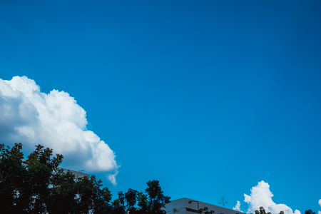 blue sky with cloud and electric pole in  Thailand.