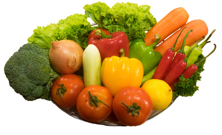 ration: Vegetable in  Basket on white background.