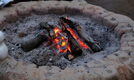 Wood burning in the fireplace closeup.(Selective focus) Stock Photo