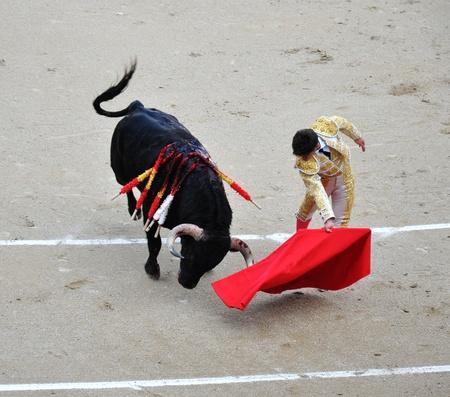bullfighting: Higher angle view of bullfighting