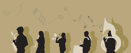 illustration of a Marching Band. Vector