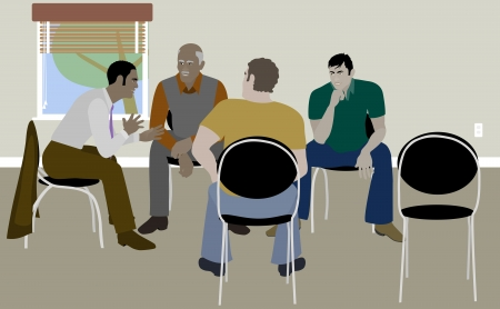 Illustration of men sitting in chairs in a circle like a Mens Support Group. Vector