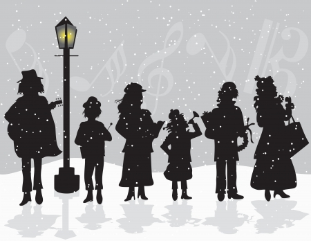 Illustration of six Carolers singing outside while it snows Vector