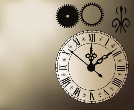 Illustration of a clock with time elements and a grediant mesh background. Vector