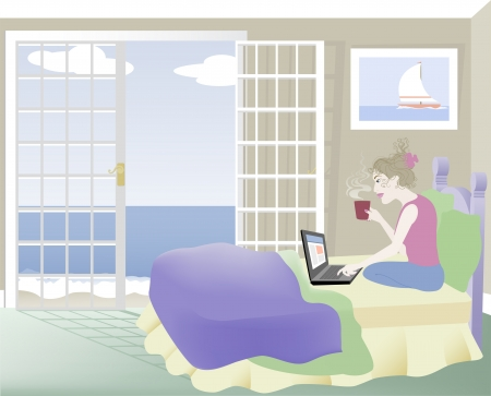 A vector illustration of a Woman in Bed with Laptop Computer Vector