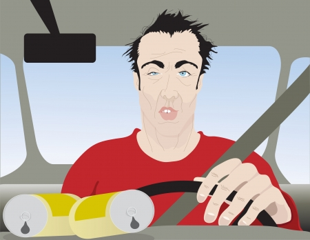 Drunk Man Driving Close Up Vector