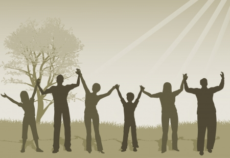 Vector illustration of People Lifting Hands Vector