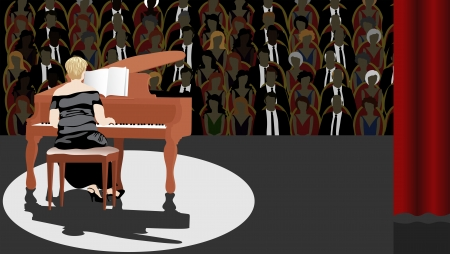 Pianist on Stage with Large Audience Vector