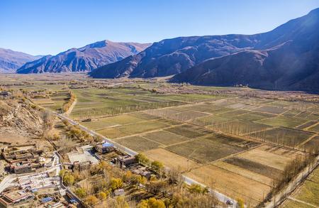 Farmland in the Shannan area of Tibet Stock Photo