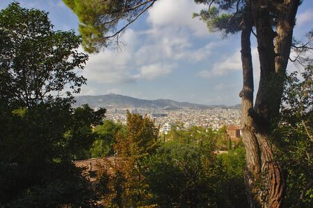 View on Barcelona from Montjuic 스톡 콘텐츠