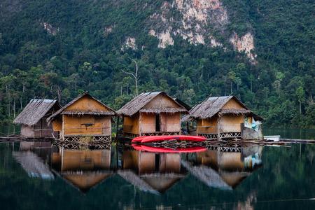 Floating huts in Khao sok national park Stock Photo - 26601245