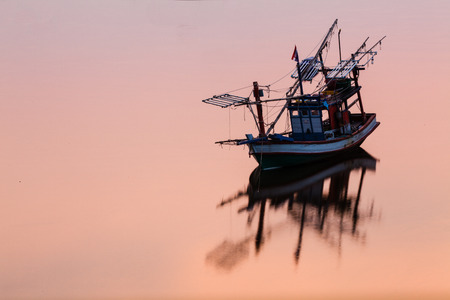 fisheries: Sunset Coastal fisheries boat in Thailand
