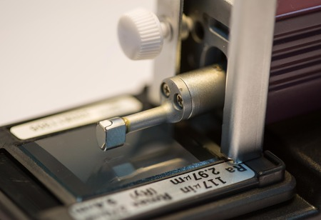 gage: calibration surface roughness tester machine with gage block Stock Photo