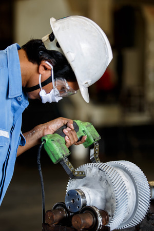 destructive: Magnetic particle Inspection for check carck and surface defect Stock Photo