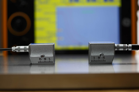 calibration: Calibration angle beam probe with calibration block Stock Photo