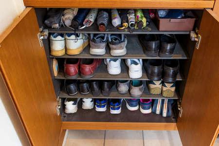 a lot of shoes in a shoe box Reklamní fotografie