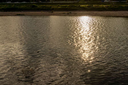 Evening sunlight reflected on the surface of the water