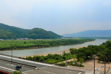 Scenery of Kizu River in Yawata, Kyoto
