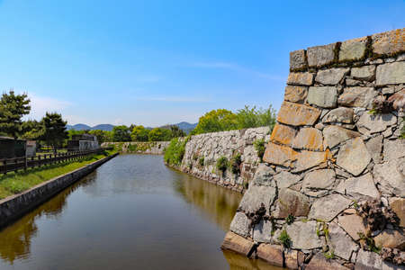 Stone wall and moat left in Ako Castle