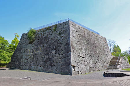 Large stone wall for castle tower in Ako castle