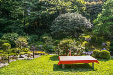 Japanese garden with red bench on the lawn