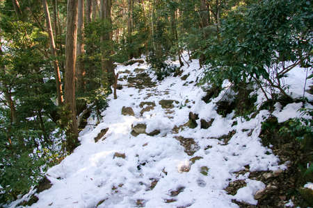 Mountain trail covered with snow in winter