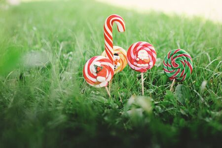 A variety of Christmas candies on the background of green grass. Colored sweets from Santa, snowman and Christmas sock.
