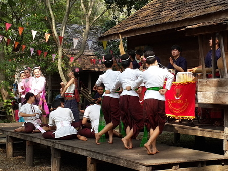 thai dance: Thai Classical Dancing Stock Photo