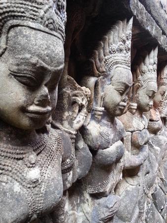 apsara: Apsara Stone Wall Stock Photo
