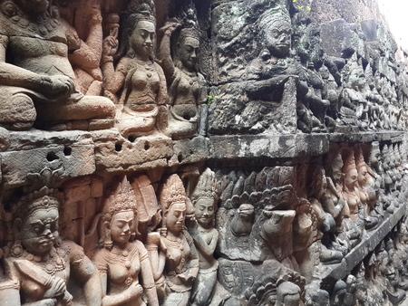 apsara: Apsara Sculpture Wall Stock Photo