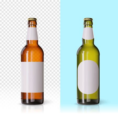 Wheat beer ads, realistic vector beer bottle with attractive beer and ingredients on background. Bottle beer brand concept on backgrounds, with different mock ups and caps. Set of bottles Stock Photo