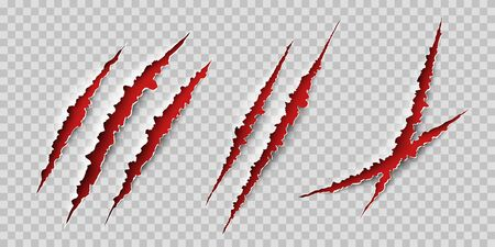 Claws scratches. Wild animal claws scratch texture with red background. Horror, thriller , halloween monster vector scratched marked isolated 向量圖像