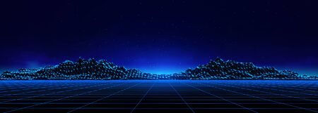 Abstract digital landscape with particles dots and stars on horizon. Wireframe landscape background. Big Data. 3d futuristic vector illustration. 80s Retro Sci-Fi Background Vectores