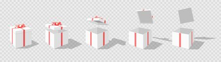 Set of opening boxes at different angles in perspective. Pink cardboard box. Surprise gift box. Carton gift boxes delivery packaging open and closed box with bows mockup set. Illustration