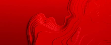 Red paper art cartoon abstract waves. Color waves. Vector abstract topographic map concept with space for your copy. 3D Cartography concep background. Modern origami design template 일러스트