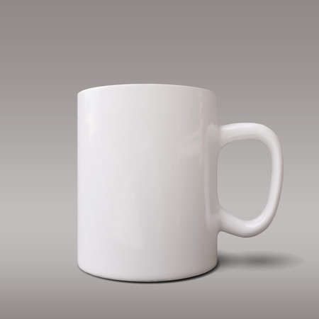Realistic white cup isolated on grey background. Vector template for Mock Up. Vector illustration - Vector illustration Ilustração