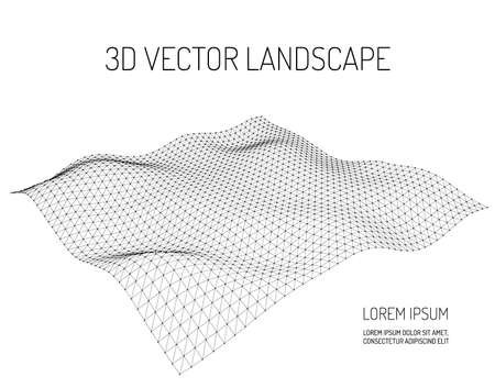3D Vector landscape. Contour. Abstract digital landscape with particles dots and stars on horizon. Wireframe landscape background. Big Data. 3d futuristic vector illustration.