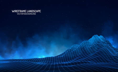Vector retro futuristic background. Abstract digital landscape with particles dots and stars on horizon. Wireframe landscape background. Big Data Digital retro landscape Retro Sci-Fi Background.